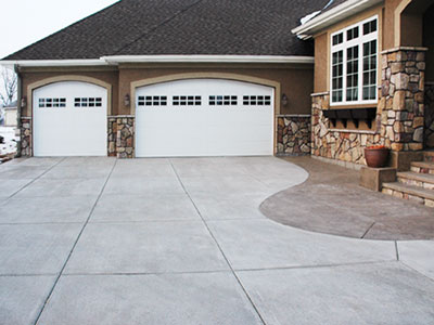 Concrete Driveway with color stamped edge and walk - in Eden Prairie, MN